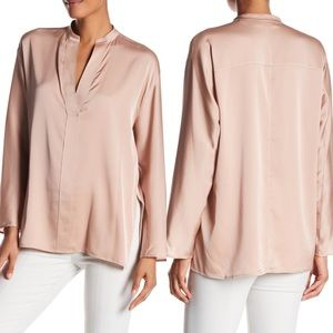 Vince Split Neck Silk Petal Pink Blouse Sm AS-IS